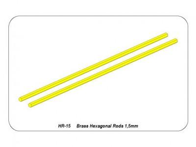 Brass  hexagonal rods 1,5mm length 245mm x2 pcs.