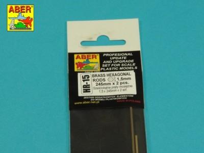 Brass  hexagonal rods 1,5mm length 245mm x2 pcs. - 3