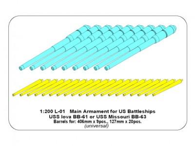 Main Armament for US battleship Iova or Missouri 406mm x9, 127mm x20 - 14