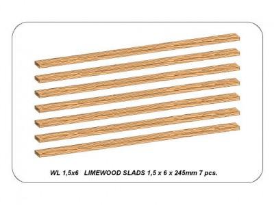 Limewood slats 1,5 x 6 x 245mm x 7 pcs.