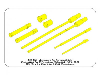 Armament for German fighter Fw-152 versions H-0 to H-4; H-7 to H12
