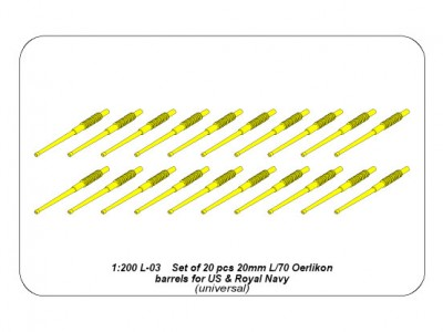 Set of 20 pcs 20 mm L/70 Oerlikon Mk.10 barrels for US Navy ships