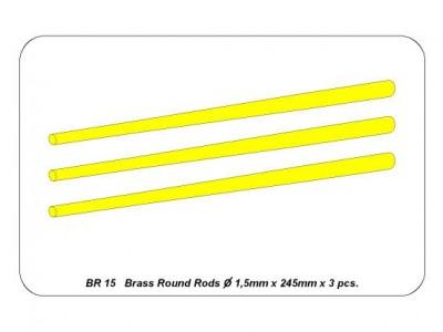 Brass  round rods Ø 1,5mm length 245mm x 3 pcs.