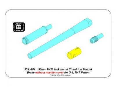 90 mm M-36 tank barrel  cyrindrical Muzzle Brake without mantlet cover for U.S. M47 Patton