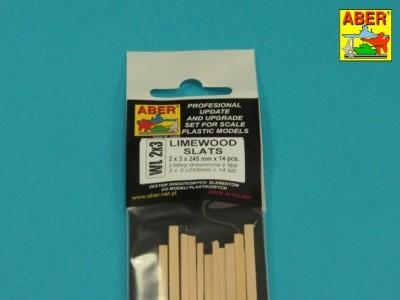 Limewood slats 2 x 3 x 245mm x 14 pcs.