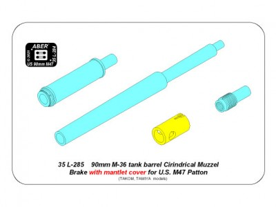 90 mm M-36 tank barrel  cyrindrical Muzzle Brake with mantlet cover for U.S. M47 Patton - 14