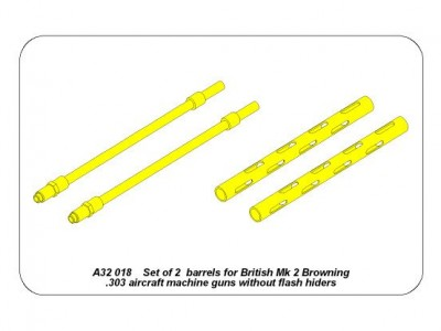 Set of 2  barrels for British Mk 2  Browning .303 aircraft machine guns without flash hiders