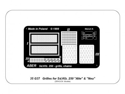 """Grilles for Sd.Kfz. 250 """"Alte"""" & """"Nue"""" vehicles"""