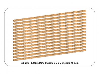 Limewood slats 2 x 3 x 245mm x 14 pcs. - 1